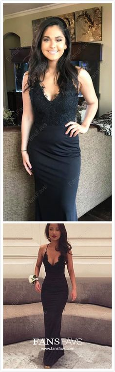 Black Formal Dresses Long, Modest Prom Dresses for Teens, Sheath/Column Evening Dresses Lace, V-neck Wedding Party Dresses Silk-like Satin Prom Dresses Long Modest, Best Formal Dresses, Dresses To Wear To A Wedding, Prom Dresses For Teens, Black Prom Dresses, Formal Evening Dresses, Unique Dresses, Stylish Dresses, Elegant Dresses