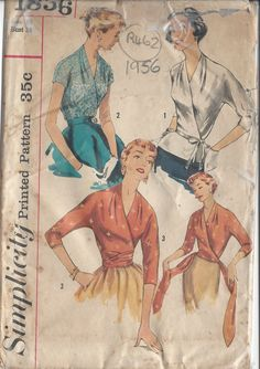 "1956 Vintage Sewing Pattern BLOUSE B38"" (R462)"