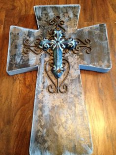 Blue Floral design Wooden Wall Cross by bstreetboutique on Etsy