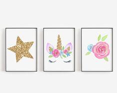 Printable Shower and Party Invitations, Games, Cards by OhBabyTemplates Unicorn Themed Room, Unicorn Rooms, Unicorn Bedroom, Unicorn Poster, Unicorn Wall Art, Wall Art Decor, Nursery Decor, Girl Nursery, Nursery Ideas
