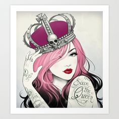 I'm in love with this artist! I want all her stuff!   Save The Queen Art Print by Tati Ferrigno - $17.00