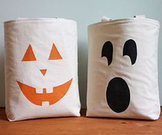 cute homemade easy trick or treat bags. Maybe make with extra drop cloth and freezer paper stencil?