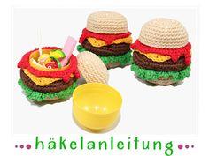 Burger Überraschung, Ü-Ei Burger - Häkelanleitung made by patterns by steph via DaWanda.com