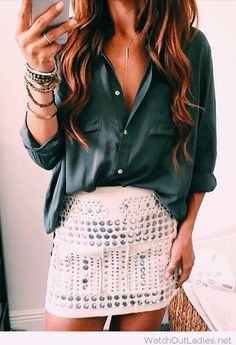 Amazing dark green shirt and white leather skirt