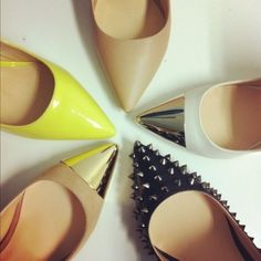 pointed-toe shoes.