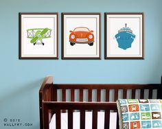 Transportation wall art.Tranpsortation prints for boys nursery decor. Kids wall art car, boat, airplane prints. Set of 3 11x14 prints by Wal. $57.00, via Etsy.