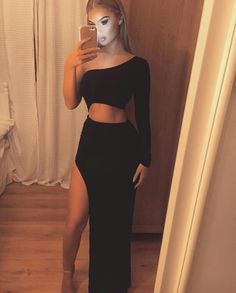 Sexy Black One Shoulder Two Pieces Long Evening Prom Dresses Evening Dress Long, Prom Dresses Black, Prom Dress, Sexy Evening Dress, Two Pieces Prom Dresses Prom Dresses 2019 Black Prom Dresses, Sexy Dresses, Cute Dresses, Dress Prom, Dress Black, Party Dresses, Long Dresses, Elegant Dresses, Summer Dresses