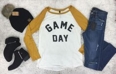 """Game Day"" Raglan-Ivory/Gold - The Style Bar Boutique"