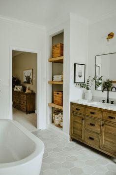 Modern Eclectic Bathroom Remodel - House On Longwood Lane Wood Bathroom, Bathroom Renos, Bathroom Colors, Bathroom Hardware, Bathroom Plants, Bathroom Ideas, Bathroom Cabinets, Bathroom Organization, Bathroom Mirrors