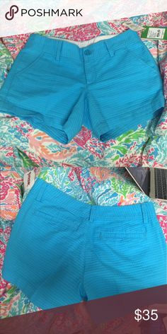 NWT Lilly Pulitzer Callahan Shorts Super cute turquoise Lilly Pulitzer Callahan shorts! I bought them from TJ Maxx and got home to try them on and they're HUGE on me. One button and zipper. Lilly Pulitzer Shorts