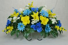 No. S1612 Beautiful Spring Cemetery Arrangement , Headstone saddle, Grave, Tombstone arrangement, Cemetery flowers by AFlowerAndMore on Etsy