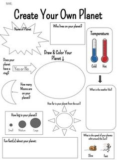 This assignment is great for pairing with our Space or Solar System units! Students get to create their own planet! space activities for kids solar system Planets Activities, Solar System Activities, Space Activities For Kids, Science For Kids, Learning Activities, Solar System Crafts, Solar System Worksheets, Earth Science Activities, Science Experiments