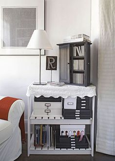 Storage Solutions  MULTIFUNCTIONAL END TABLE  A basic shelf unit (with extra storage space for office and crafts supplies) doubles as a side table. A lovely coverlet with scalloped edging lends a sweet country touch. All you need is hook-and-loop tape and a needle and thread to complete the transformation.