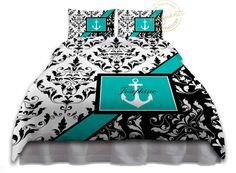 Anchor Bedding - Comforter Teal Black & White Damask - Nautical Bedding - Personalized, King, Queen/Full, Twin #277 by EloquentInnovations on Etsy