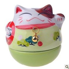 Lucky cat Ceramic with Coloured Drawing Daruma doll GREEN