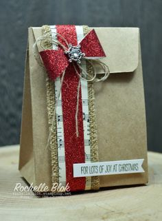 gifts bag The Stamping Blok: Inkreators Blo - Christmas Gift Bags, Christmas Gift Wrapping, Creative Gift Wrapping, Creative Gifts, Wrapping Ideas, Paper Gift Bags, Paper Gifts, Decorated Gift Bags, Gift Wraping