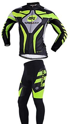 2ec3b5605 Sponeed Mens Bike Jersey Long Sleeve Cycling Apparel Jacket Warrior Style  Size L Green -- Click on the image for additional details.