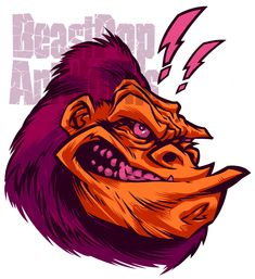 Mascot design for my rebranding as BeastPop ArtWorks. Pen & Ink with Photoshop. Monkey Drawing, Monkey Art, Graphic Illustration, Graphic Art, Graffiti Characters, Fictional Characters, Mascot Design, Illustrations And Posters, Graffiti Art