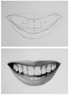 Pencil Portrait Mastery - How to draw teeth - Discover The Secrets Of Drawing Re. Pencil Portrait Mastery – How to draw teeth – Discover The Secrets Of Drawing Realistic Pencil Pencil Art Drawings, Realistic Drawings, Art Sketches, How To Draw Realistic, Face Pencil Drawing, Pencil Portrait Drawing, Drawing Tips, Painting & Drawing, Drawing Ideas