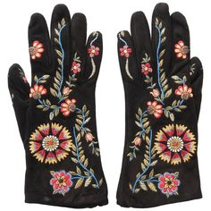 John Galliano For Christian Dior Black Suede Embroidered Gloves | From a collection of rare vintage gloves at https://www.1stdibs.com/fashion/accessories/gloves/