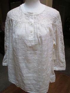 Coldwater Creek Lace Peasant Blouse Size L 14 Ivory Cotton Blend Button Front #ColdwaterCreek #Blouse #Casual