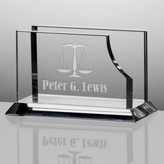 Personalized Crystal Desktop Business Card Holder for Lawyers