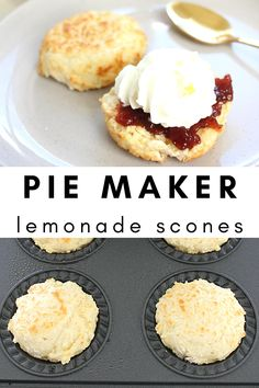 This 3 ingredient lemonade scones recipe is the easiest way to make lemonade scones, but using the pie maker to cook them makes them even quicker and easier. Mini Pie Recipes, Tea Recipes, Sweet Recipes, Baking Recipes, Cake Recipes, Dessert Recipes, Bisquick Recipes, Yummy Recipes, Recipies