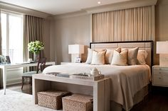simple mouldings, clean lines, NO bed drapes In Grey Tones POWELL & BONNELL
