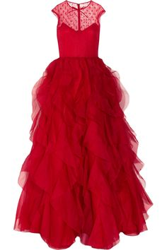 Red ruffled silk organza gown / Valentino