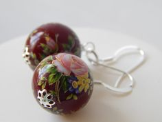 Japanese Style Tensha Bead Red Dangle Earrings In Sterling Silver by KowalaBeads