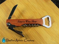 Personalized Wine Bottle Opener; Custom Engraved Wine Bottle Opener