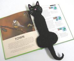Needle Felted Black Cat Bookmark by PatsParaphernalia on Etsy