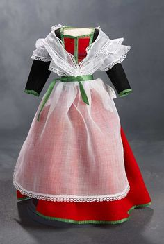 """What Finespun Threads"" - Antique Doll Costumes, 1840-1925 - March 12, 2017: 63 Traditional Woolen Costume with Fichu and Apron"
