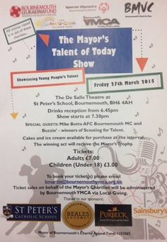 We are proud to be one of the sponsors of 'The Mayor's Talent of Today Show'   The show is taking place on Friday 27th March at St Peters School showcasing young peoples talent and raising money in aid of some great charities.   To book tickets please email hmartin@bournemouthymca.org.uk    #BealesGourmet #sponsor #talent #show #27 #march #charity