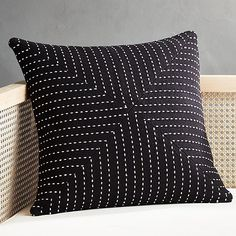 Nothing fresher than this pure cotton throw pillow in chic black. Stitched white dash details lend a tailored look. pillows include a pillow insert in your choice of feather down or down alternative. White Fur Pillow, Black And White Pillows, Yellow Pillows, Grey Pillows, Leather Pillow, Modern Throw Pillows, Velvet Pillows, Linen Pillows, Accent Pillows