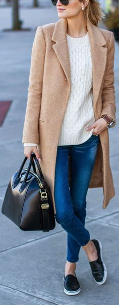 Fall / Winter - street chic style - sporty chic style - camel coat + white sweater + cropped skinnies + black leather slip-ons + black handbag + black sunglasses