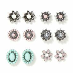 Gem Flower Stud Earrings Set of 6.. so pretty and vintage looking