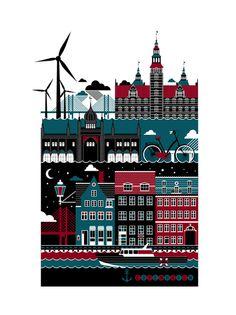 Copenhagen by St. Petersburg freelance illustrator Xenia Bystrova