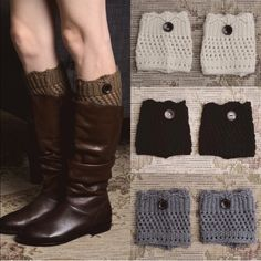 MARLENE boot cuff -   BLACK, GREY PRICE IS FOR 1 PAIR ONLYCrochet boot cuff with button. Super cute with booties or boots. 100% acrylic. NO TRADE, PRICE FIRM Accessories Hosiery & Socks