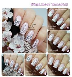 Bridal Pink Bow Nail Art with Tutorial