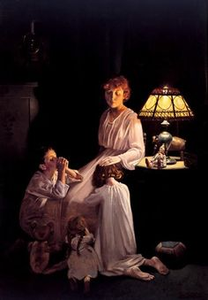 Norman Rockwell - Inspriration photo- Will do with a book instead -teaching them to read