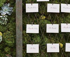 moss + succulent escort card wall