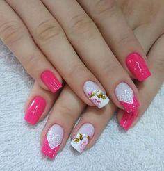 Manicure And Pedicure, Gel Nails, Flower Designs, Nail Designs, Hair Beauty, Nail Art, Perfect Nails, Pretty Nails, Gorgeous Nails