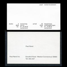 joseph müller-brockmann vs paul rand biz cards. your business cards sucks.