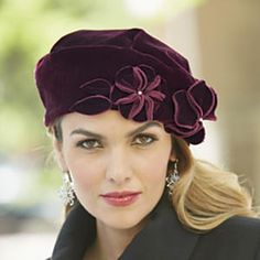 Velvet Floral Hat from Midnight Velvet®. The ideal hat to accompany your holiday velvets. Floral accent with a beaded center. Fancy Hats, Cute Hats, Velvet Hat, Velvet Tops, Fascinator Hats, Fascinators, Headpieces, Stylish Hats, Beanies