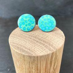 26332fe7c Copper enamel stud earrings in celadon green and seablue enamel, 18mm round stud  earrings in summer aura soma colours