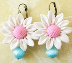 Flower Earrings Turquoise Jewelry Bridesmaid Earrings by zafirenia, $27.00