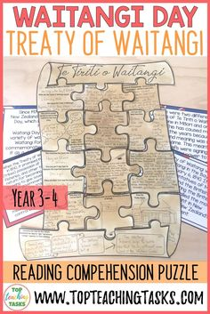 The Treaty Of Waitangi Reading Comprehension Scavenger Hunt Puzzle Year 5 and 6 Reading Comprehension Activities, Reading Resources, Literacy Activities, Teaching Reading, Treaty Of Waitangi, Waitangi Day, Primary Classroom, Classroom Ideas, History Activities