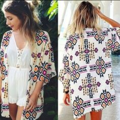 Women Boho Floral Coverup Very pretty geometric/floral design. Brand new from wholesaler. No tags. OS Swim Coverups