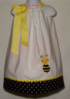 Bee Pillowcase Dress / Girly / Yellow / Black / White / Birthday / Newborn / Infant / Baby / Girl / Toddler / Custom Boutique Clothing